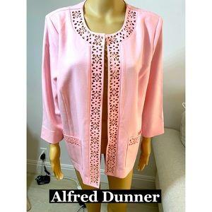 Alfred Dunner Pink Laser Cut Jacket Sz 16